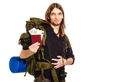 Man tourist backpacker holding money and passport. Royalty Free Stock Photography
