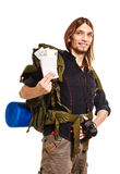 Man tourist backpacker holding money and passport. Royalty Free Stock Photos