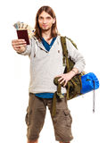 Man tourist backpacker holding money and passport. Stock Photo
