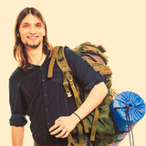 Man tourist backpacker portrait. Summer travel. Stock Photo