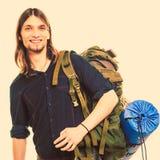 Man tourist backpacker portrait. Summer travel. Stock Photo