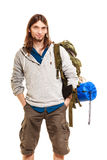 Man tourist backpacker portrait. Summer travel. Royalty Free Stock Photography