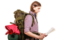 Man tourist backpacker reading map. Summer travel. Stock Photography