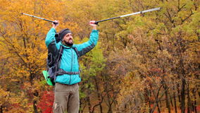 Man tourist in a blue jacket with a backpack rejoices in the autumn forest stock footage
