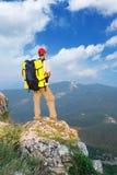 Man tourist in mountain Stock Photos