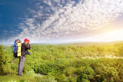 Man tourist in mountain. Royalty Free Stock Image