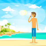 Man Tourist Phone Call Summer Travel Vacation  Stock Image