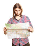 Man tourist reading map on trip. Summer travel. Stock Images