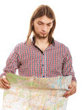 Man tourist reading map on trip. Summer travel. Stock Photography