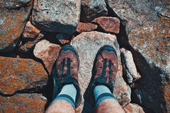 Man tourist shoes Royalty Free Stock Photo