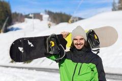 Man Tourist Snowboard Ski Resort Snow Winter Mountain Happy Smiling Guy On Holiday Stock Image