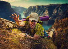 Man tourist surviving Stock Photography