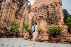 Man tourist in Ventname. Po Nagar Cham Tovers. Asia Travel concept. Royalty Free Stock Image