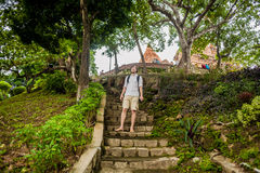 Man tourist in Ventname. Po Nagar Cham Tovers. Asia Travel concept. Royalty Free Stock Photography
