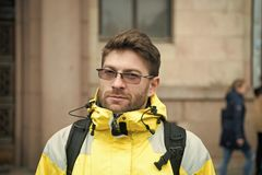 Man tourist wear warm protective clothes for cold climate conditions. Tourist traveller concept. Tourist well equipment. Ready explore scandinavian or nordic royalty free stock image