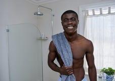 Man towel bathroom portrait Royalty Free Stock Image