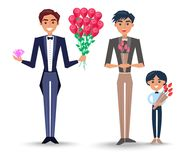 Male Characters with Bouquets Illustrations Set. Man in toxedo with roses and diamond, male character in brown suit and little boy in bowtie with tulips isolated Royalty Free Stock Photography