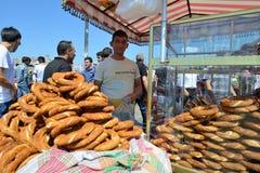 Man trades traditional turkish food Stock Photos