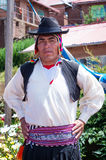 Man in  traditional clothes at Taquile Island at lake Titicaca in Peru Royalty Free Stock Photo