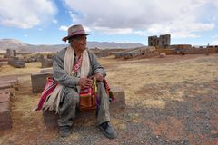 Man with traditional costume, Bolivia stock image