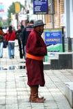Man in traditional dress in ulan bator in mongolia Royalty Free Stock Photo