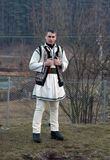 Man in traditional Romanian costume. Young man in traditional Romanian costume royalty free stock photo