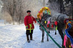Man in Russian clothes with the decorated horse on a holiday of Royalty Free Stock Image