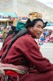 Man in traditional tibetan costumes. Stock Photo