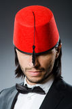 Man in traditional turkish hat Stock Image