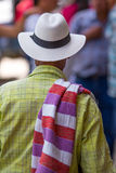 Man in traditional wear in Colombia. Man wearing a sombrero and folded poncho over the shoulder stock photography