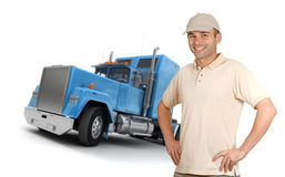 Man and trailer. Isolated image of a man in front of a trailer truck stock photography