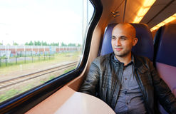 Man in the train Stock Photography