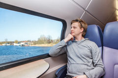 Man in train Stock Photo