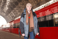 Man at the train station stock image