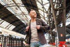 Man on train station Royalty Free Stock Photo