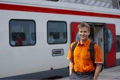 Man at Train Stop Royalty Free Stock Photo
