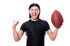 Man training with american footbal Stock Photos