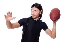 Man training with american football Royalty Free Stock Photo