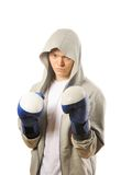 Man training boxing Stock Photos