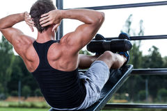 Man training on the outdoor gym Royalty Free Stock Photography