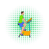 Man training on a stationary bike icon Royalty Free Stock Image