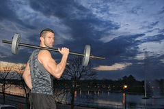 Man training with weight Royalty Free Stock Photography