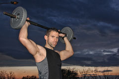 Man training with weight Royalty Free Stock Photo