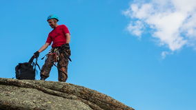 Man Trains to Conquer the Rock stock video footage