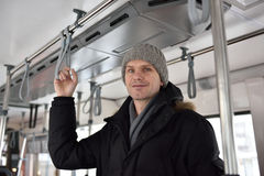 Man in a tram Stock Image