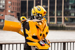 Man in Transformers costume Royalty Free Stock Image