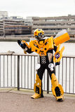 Man in Transformers costume Stock Photo