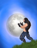 Man Transforming Into Werewolf Big Full Moon Illustration. A man changing into a werewolf upon exposing to moonlight Stock Photo