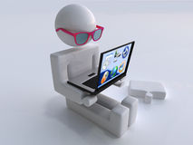 Man with transparent laptop and glasses. The character sits with the transparent laptop Royalty Free Stock Photography