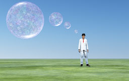 Man and transparent thought bubbles. Man with transparent thought bubbles Royalty Free Stock Photos